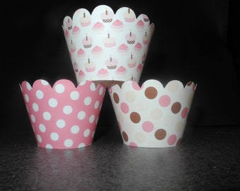 Birthday Party Cupcake Wrappers- Set of 12 Celebrate Girl  Pink
