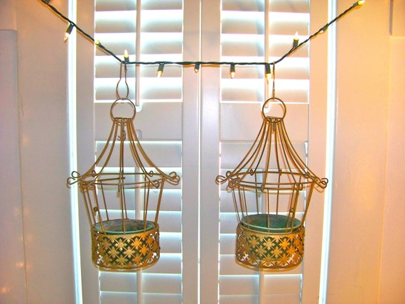 Metal Birdcage Planters. Matching Pair. Vintage Pottery. Sierra Columbia.