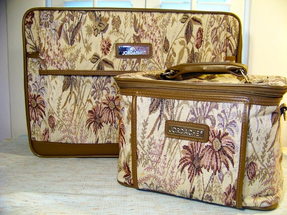 Vintage Suitcase and Train Case. Tapestry. Carry-On Jordache Luggae.