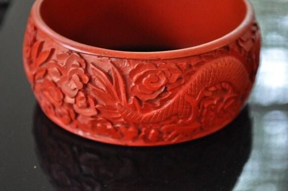 HUGE Year of the Dragon Cinnabar Bracelet Vintage Wide Cuff Great Design Around Entire Piece