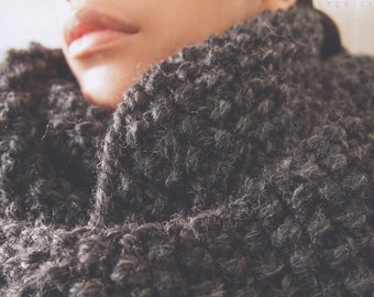 Custom Order Knit Chunky Loop Cowl Scarf - The Fossa in Charcoal Grey