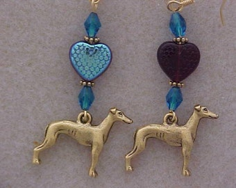 Greyhound Antique GP Pewter Charm Earrings Heart Beads Red  & Metalic Blue Glass Beads