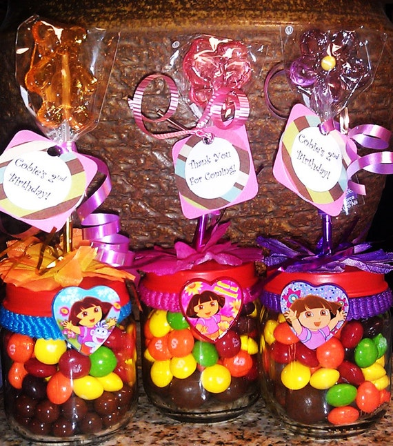 Dora Baby Food Jar Party Favors Birthday Party By Stinkystuffs