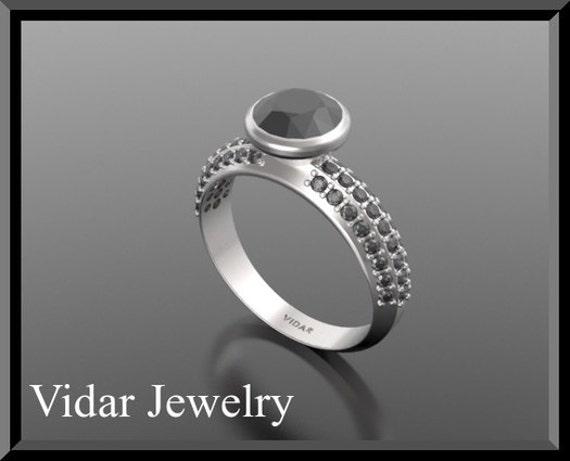 1.5Ct Black  Diamond Engagement Ring,Unique Engagement Ring,Bridal Wedding Ring,Black Diamond Ring,14k White Gold Ring,Engagement Ring