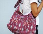 Hobo bag, shoulder bag, in magenta ikat pattern