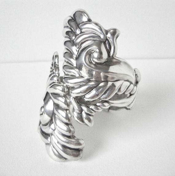 Reserved for Sheila Brownlee Alfredo Villisana Sterling Silver Clamper Bracelet With Large Swirl Design