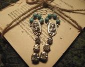 vintage assemblage rosary bead earrings