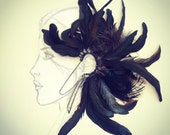 Beautiful Handmade Black Dark Feathers Ear Cuff Hair piece