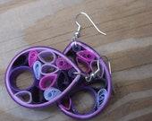1st Anniversary Gift/ Paper Earrings/ Medium Purple Quilled Earrings/ Med O