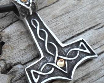Pewter Thor's Hammer Mjolnir Norse Viking Pendant with Swarovski Crystal Gold Topaz NOVEMBER Birthstone (39K)