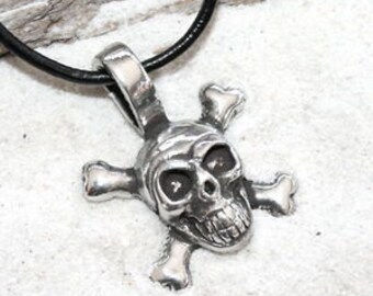 Pewter Skull and Crossbones Pirate Biker Gothic Pendant (21G)
