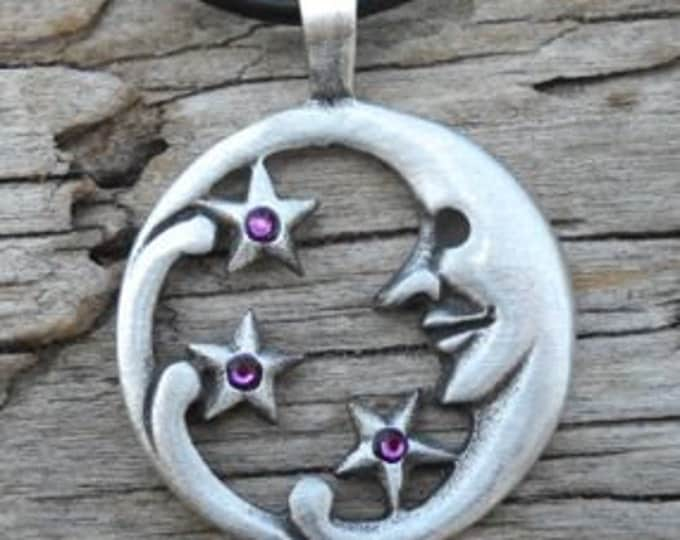 Featured listing image: Pewter Moon Face and Stars Lunar Celestial Pagan Pendant with Swarovski Crystal Purple Amethyst FEBRUARY Birthstone (39E)
