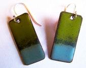 Copper Enamel  Earrings Green and Blue Dangle Style