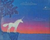 SALE Vintage 1978 Sunset/Sunrise White Unicorn Illustration Poster