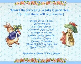 Beatrix Potter Benjamin Bunny Baby Shower Invitations