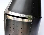 Crusade Era Blackened Dargen Great Helm: Hand-Made Helmet