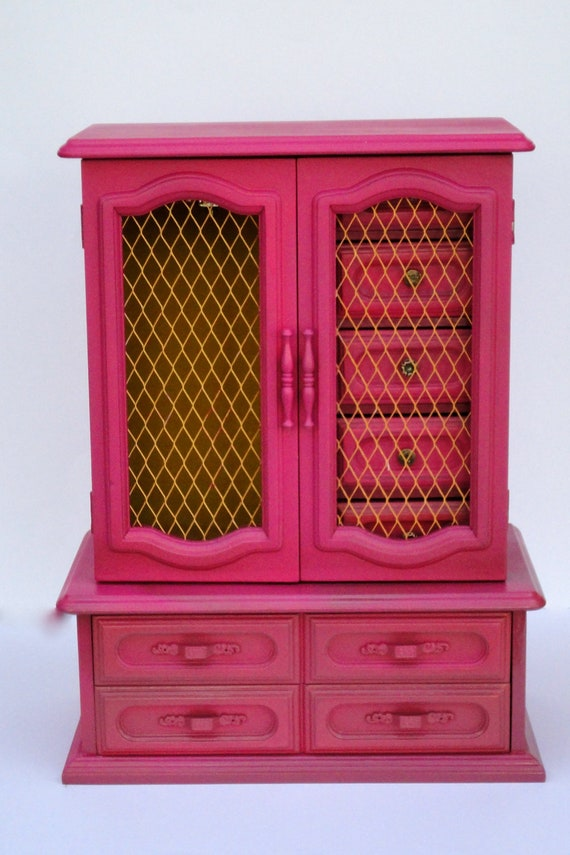 Extra Large BoHemian Jewelry Box,Wind Up Music, Hand Painted, Bright Pink and Yellow