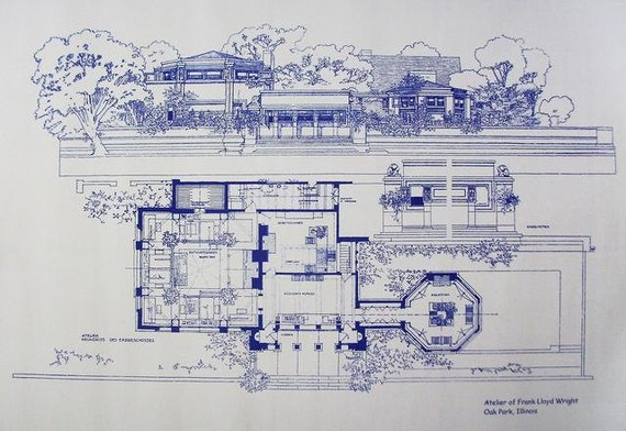 frank lloyd wright atelier blueprint by blueprintplace on etsy