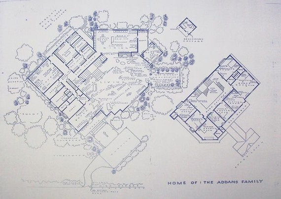 House from addams family tv show blueprint by blueprintplace for Spear house blueprints