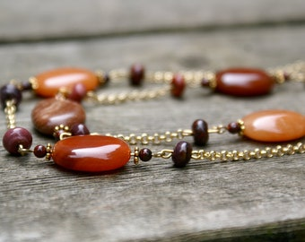 Red Tones and Gold Beaded Double Strand Necklace