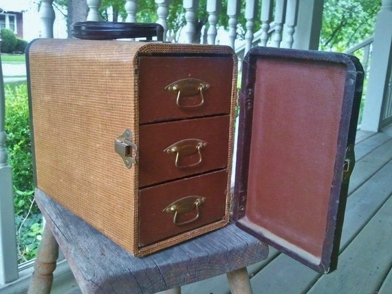 Vintage Suitcase Slide Carrier with Three Drawers
