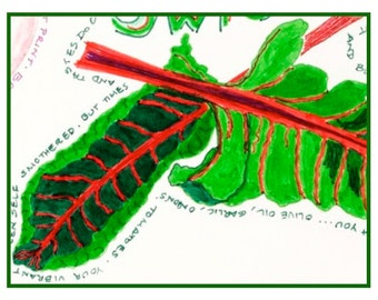 SWISS CHARD note card, colorful, hand-drawn
