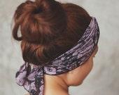 Chiffon scarf, hair scarf, head wrap, neck bow, stretchy headband, violet and black boho pattern, HS-D-12003-LL - RumRaisins