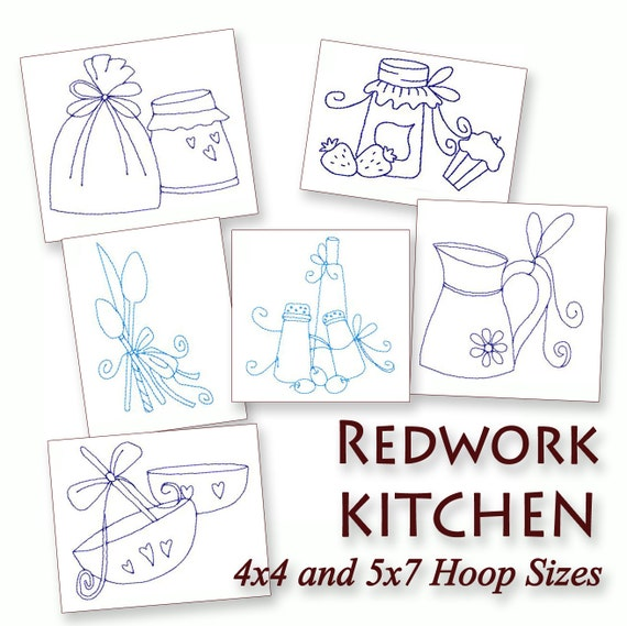 Kitchen Things Redwork Machine Embroidery By Stitchxembroidery