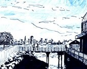 Poster Print of Ink Drawing: Tiburon and a San Francisco Cityscape, 12x18