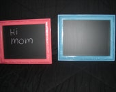 vintage home interior pictures upcycled  into  chalkboards  for  girl or boys room in bright  pink an blue