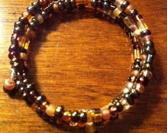Brown Seed Bead Memory Wire Bracelet