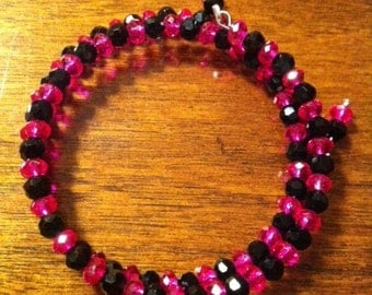 Bright Pink and Black Memory Wire Bracelet