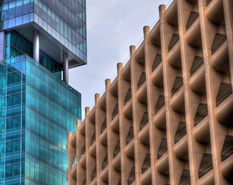 Downtown Pittsburgh Photo, HDR photograph, Blue, green and tan, fine photography prints, Abstract Buildings