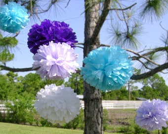 10 Custom Tissue Paper Pom Poms - 4 Large & 6 Medium