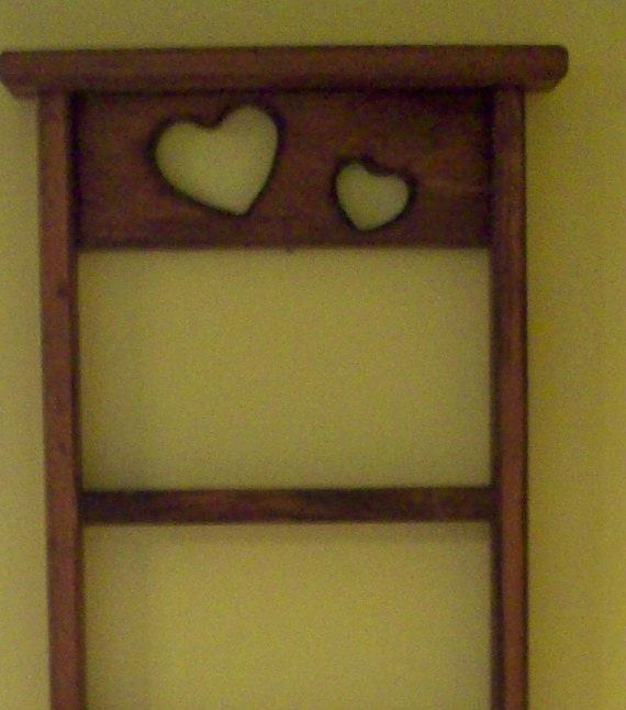 Wooden Wall Shelf Country Heart Design Curio By Annetteattic