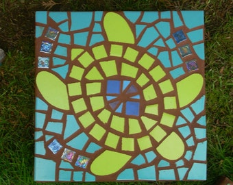 "Made to order, Exterior garden mosaic stepping stone. ""Swimming Sea Turtle"", kiwi, aqua, glass,12"" square, exterior ceramic"