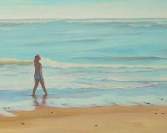 """Ocean Girl, original oil painting on canvas, 12"""" high x 24"""" wide, beach, sand, ocean waves, blue, white, aqua"""