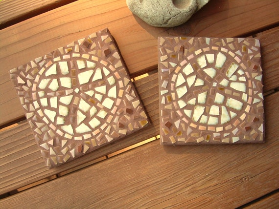 "Set of 2 Sanddollar mosaic trivets, vintage and porcelain tile with copper accents, 6"" square, cream and earth tones"
