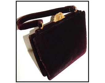 Vintage 1940s Purse Handbag Designer Brown Velvet Garden Party Rockabilly Mad Man Retro Dress Femme Fatale Couture