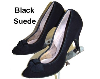 Vintage 1950s Heels Black 1950s Pumps Spike Pumps Stilluetos Pinup Bombshell Dress  Garden Party Office Wedding Career Designer Dress