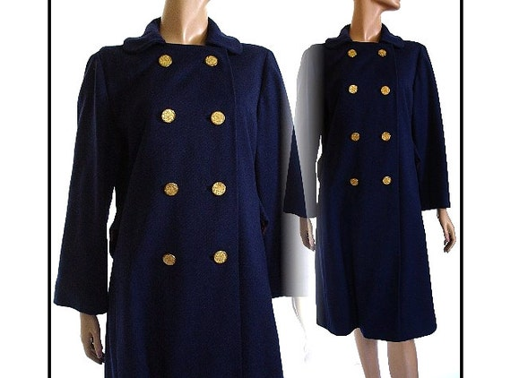 Vintage 1950s Coat Double Breasted Tailored Designer Jacket Stole Mad Man Garden Party Rockabilly Retro Femme Fatale Belson Navy Blue