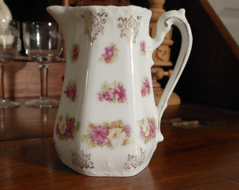 Pretty antique porcelain pitcher, made in Bavaria 1890-1909