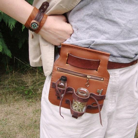 Leather Belt Pouch Bottle Holder
