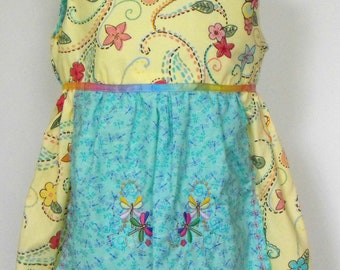 Girls Dress with Attached Embroidered Apron, girls cotton dress, girls apron dress, girls embroidered dress,  girls appliqued dress