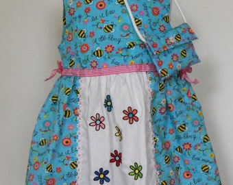 Girls Dress with Attached Embroidered Apron girls dress, girls summer dress, girls embroidered dress, girls apron dress