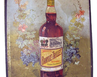 """Vintage French Menu Holder with Great Advertising for """"Banyuls-Trilles Quiquina"""" Aperitifs"""