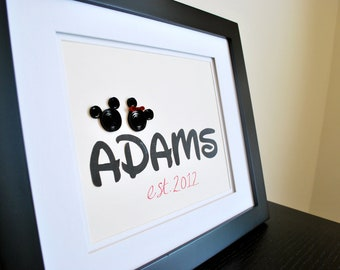 Personalized Mickey Mouse Gift for Wedding Anniversary or House Warming - You choose color