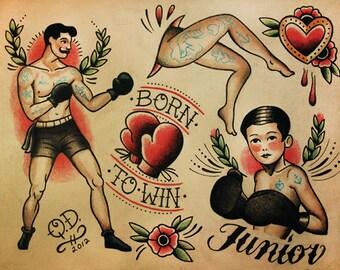 Boxing Theme Tattoo Flash Design