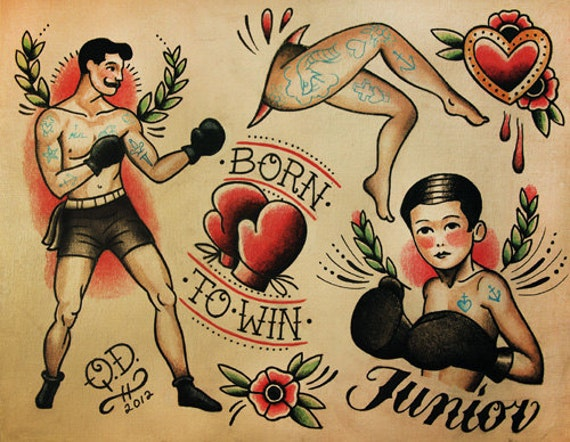 boxing theme tattoo flash design. Black Bedroom Furniture Sets. Home Design Ideas