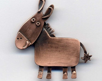 Little Donkey copper finish brooch
